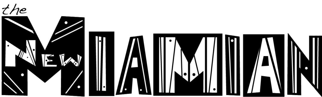 Graphic showing First Black and White Logo Design for The New Miamian (2014)
