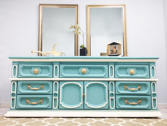 Photo Of Vintage Turquoise And White Shabby Chic Dresser (2015)